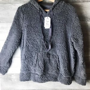 Hippie rose gray pullover teddy jacket sweater